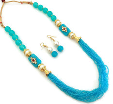 Indian Bollywood GoldPlated Sky Blue Beads Kundan Necklace Earrings Jewelry Set - $14.24