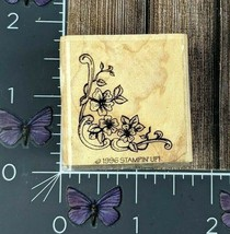 Stampin' Up! Flower Corner Rubber Stamp 1996 Ivy Vines Wood Mount #AF154 - $2.72
