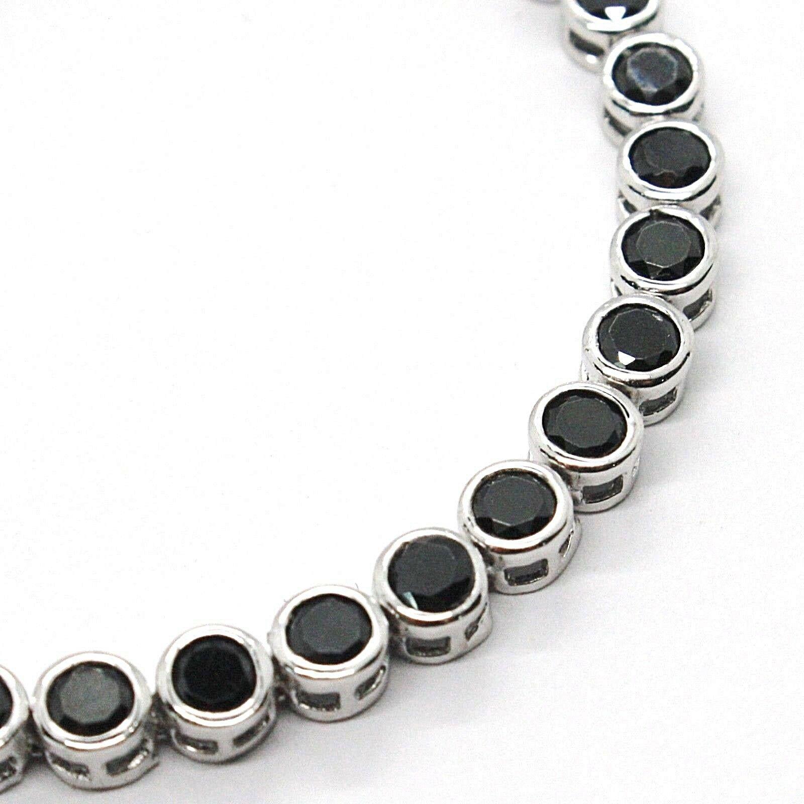 Armband Tennis, Silber 925, Zirkonia Kubische Schwarze, Brillantschliff, 4 MM