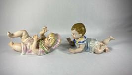 "Pair of Antique Bisque Piano Babies Blonde & Brunette 8 1/2"" Beautiful C... - $64.30"