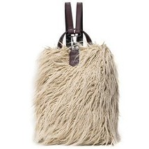 PU Leather Panel Faux Fur Backpack - $12.05