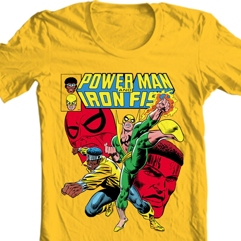 Heroes for Hire Iron Fist Power Man t shirt retro 70s marvel cotton graphic tee