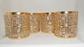 VINTAGE IMPERIAL GLASS SHOJI GOLD ROCKS GLASSES Set of 4 Mid Century Bar... - $142.50