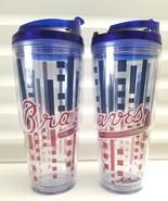Set of 2 Atlanta Braves 22 OZ Tritan Plastic Tumbler MLB Officially Lice... - $17.62