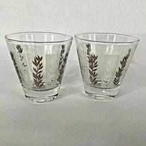 Set of 2 Low Rocks Bar Glasses Flare Lip Tapered Base Gold White Barware... - $12.82