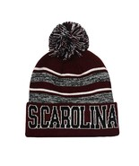 South Carolina Men's Blended Stripe Winter Knit Pom Beanie Hat (Burgundy... - $13.75