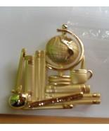 Vintage AJC Gold Tone Teacher Globe Apple Books Brooch/Pin - $15.99