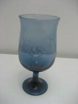 """Vintage Light Blue 6.5"""" Stemmed Goblet with Etched Floral Design - $3.95"""