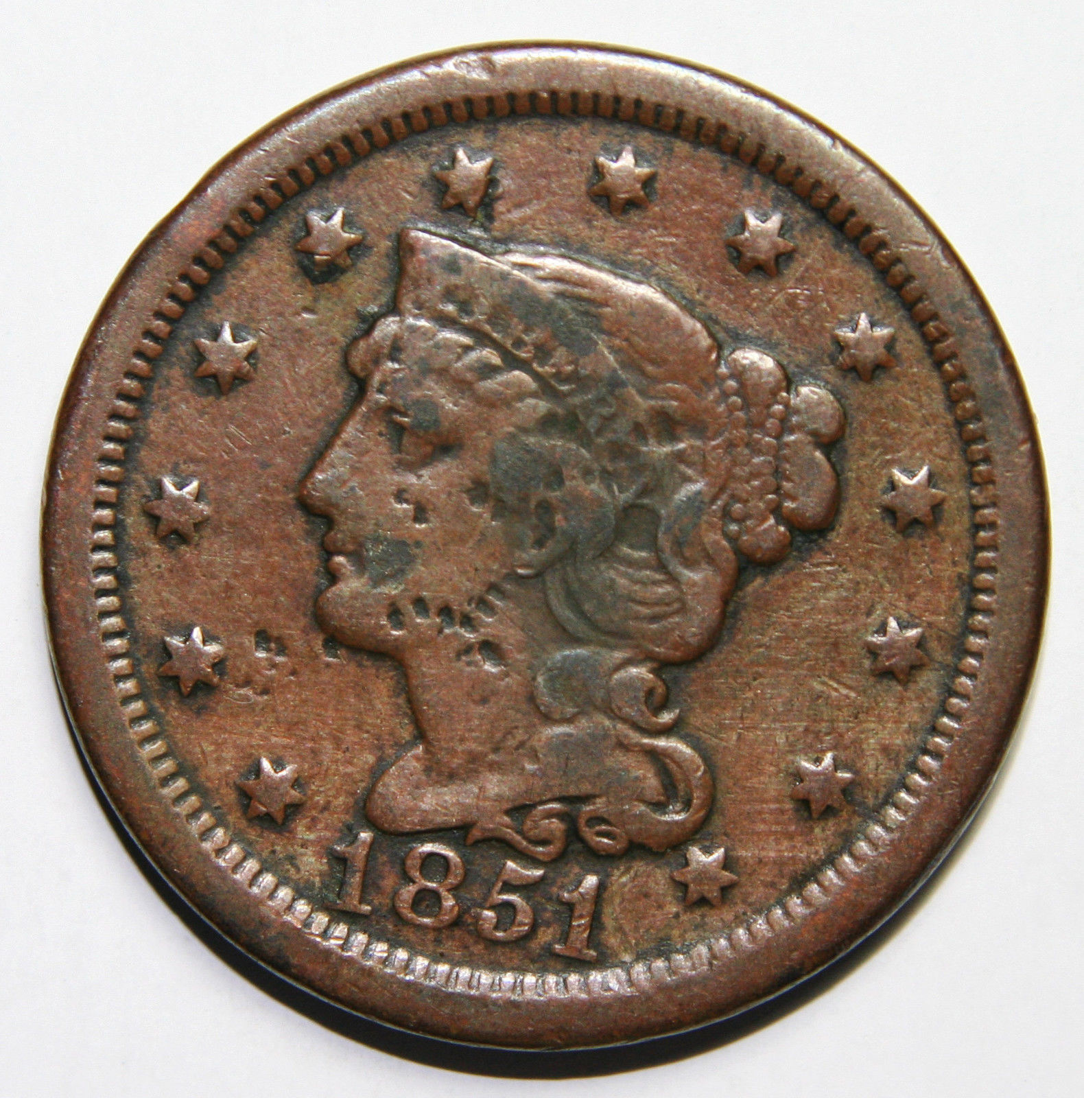1851 Large Cent Liberty Braided Hair Head Coin Lot # A 1592