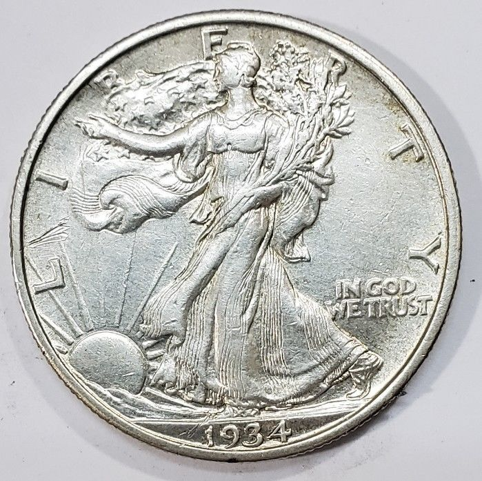 1934S Walking Liberty Half Dollar 90% Silver Coin Lot# MZ 4859