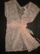 NWT Victoria's Secret LACE ROBE M Peach nude beige - $49.49