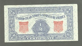 #d United Cigar Stores Company of America 1/2 Certificate! Coupon Co - $1.99