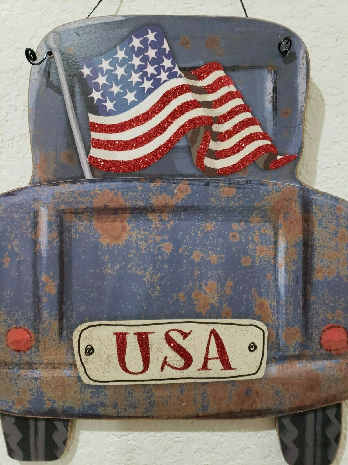 4TH OF July Patriotic Old Blue Farmhouse Rustic Trucks Wall Sign Decor 11.5""