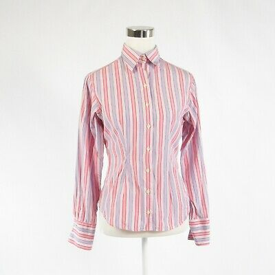 Primary image for Pink blue striped 100% cotton THOMAS PINK long sleeve button down blouse 6 36