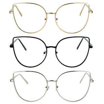 Womens Metal Rim Flat Panel Oversize Cateye Clear Lens Eye Glasses - $12.95