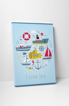 I Love Sea Boats Children Kids Wall Art Gallery Wrapped Canvas Print - $44.50+