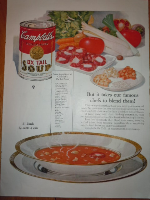 Vintage Campbell's Ox Tail Soup Print Magazine Advertisement 1925