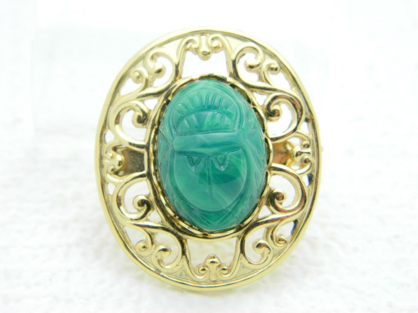 Vintage Gold Tone Green Glass Scarab Beetle Pin Brooch