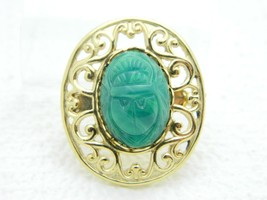Vintage Gold Tone Green Glass Scarab Beetle Pin Brooch - $19.80