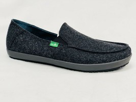 Sanuk Casa Tx Black Herring Boat Canvas Shoe Mens Size 9 Slip On Loafer SMF10510 - $39.99