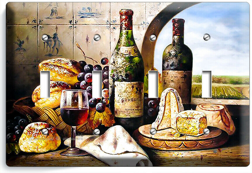 FRENCH AGED WINE CHEESE GRAPES BREAD 4 GANG LIGHT SWITCH PLATE KITCHEN ART DECOR