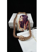 Melania Trump Gold Braid  Necklace/ magnetic closure/cz covered ball   ... - $48.51