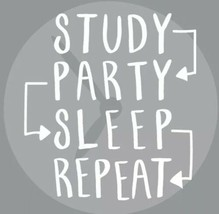 "Study Party Sleep Repeat Home Décor 6.5"" X 6.5"" Wood Composite - $7.91"