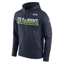 Mens Nike Navy Blue Seattle Seahawks Therma-Fit Sideline Hoodie X-Large - $44.99