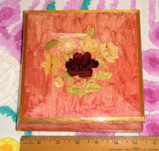 VTG ITALIAN PINK GREEN REUGE INLAY CARVED ROSES JEWELERY MUSIC TRINKET B... - $226.09