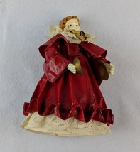 Vintage Department 56 Angel With Cymbals in Red Dress With Lace Accents ... - $8.41