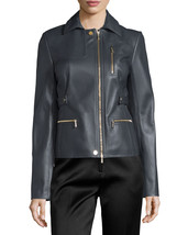 Classic Asymmetric Long Sleeve Women's Genuine Lambskin Leather biker Ja... - $145.00