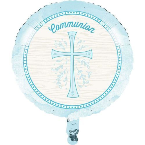 "Divinity Blue Cross Metallic Foil Mylar Balloon 18"" Communion"