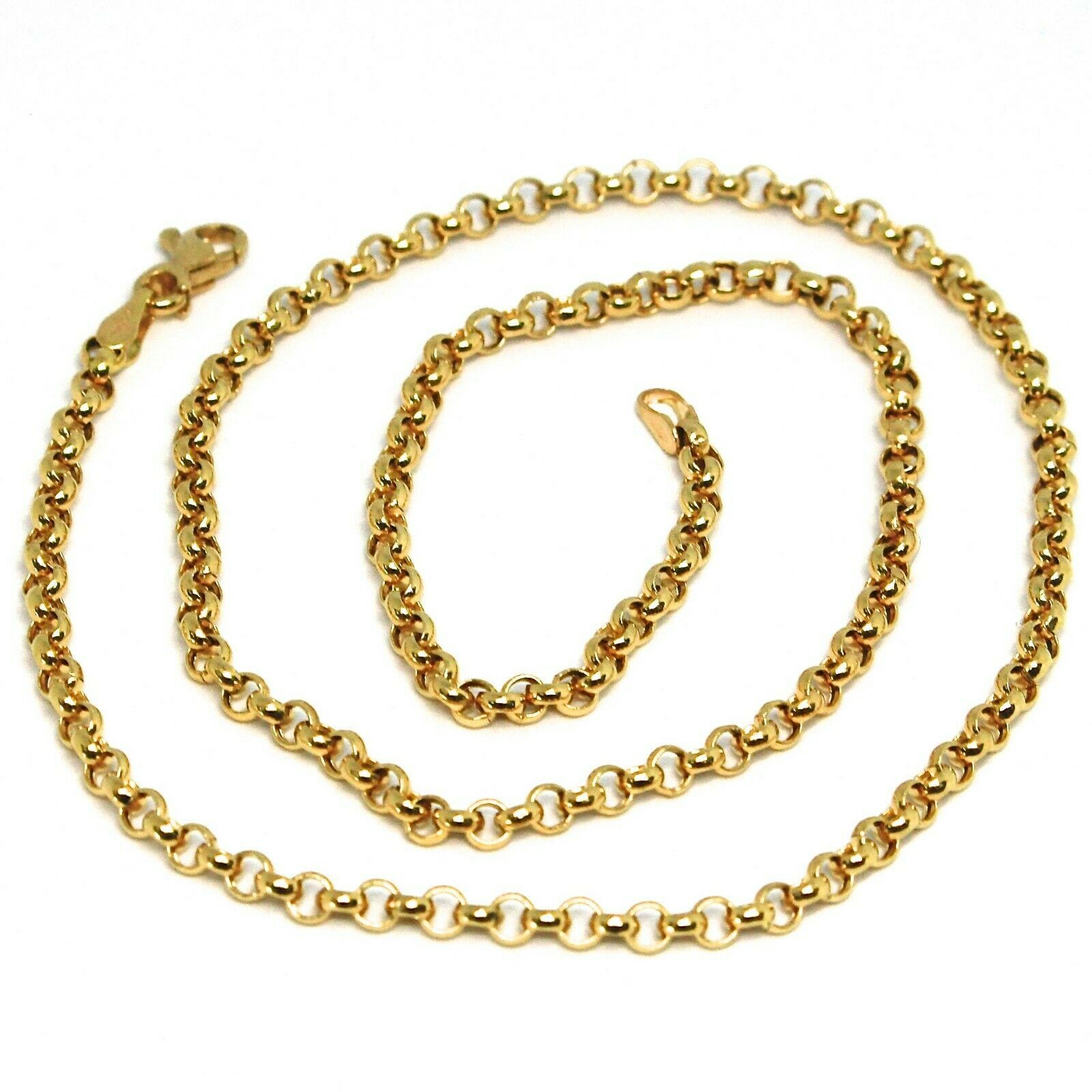 18K YELLOW GOLD ROLO CHAIN 2.5 MM, 18 INCHES, NECKLACE, CIRCLES, MADE IN ITALY