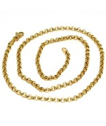 18K YELLOW GOLD ROLO CHAIN 2.5 MM, 18 INCHES, NECKLACE, CIRCLES, MADE IN... - $430.00