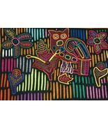 Kuna Geometric Art Mola Hand stitched Applique Detailed Owl Bird Flowers... - $47.49