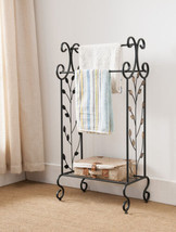 Kings Brand Black Metal With Gold Leaf Free Standing Towel Rack Stand wi... - $41.13