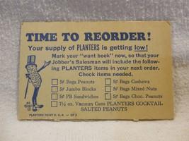 Vintage 1940/50's Planters Peanut Mr Peanut Cardboard Store Reorder Card... - $3.55