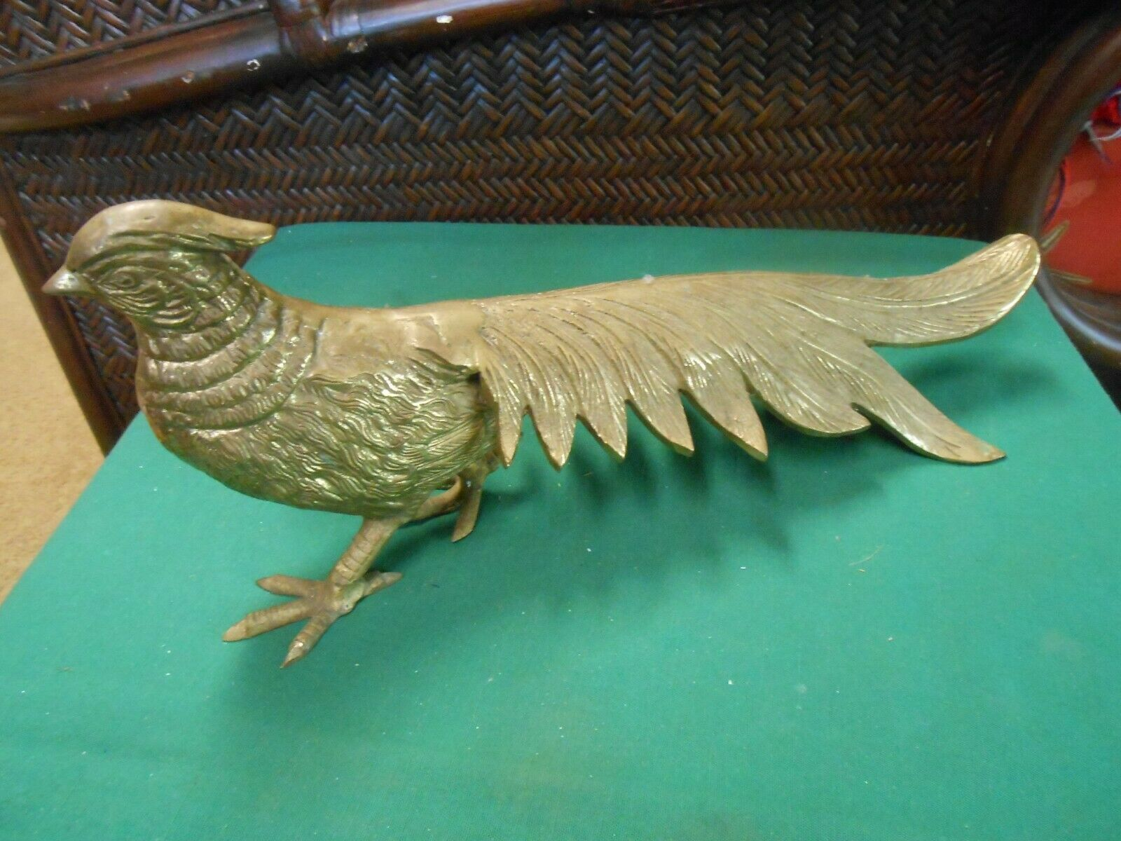 "Primary image for Great Vintage  Brass PEACOCK Figure/Statue..15.5"" length"
