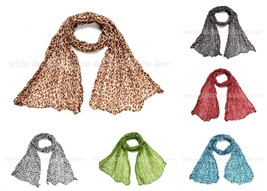 Small Leopard Cheetah Animal Print Wrinkle Scarf Wrap See Through Light ... - $5.45