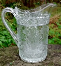 "Antique Indiana Horsemint Pitcher #156 Early American Pattern Glass 8.25""H - $50.00"