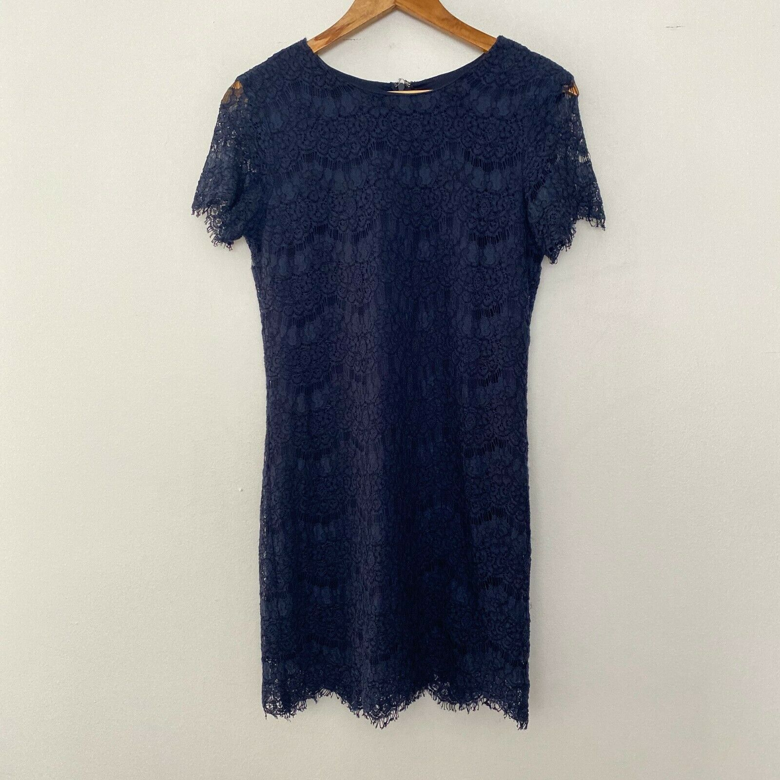 Primary image for Lulus S Small Take Me to Brunch Lace Short Sleeve Mini Shift Dress Blue
