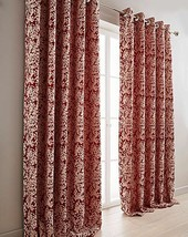 WOVEN FLORAL RED BEIGE FULLY LINED RING TOP CURTAINS *8 SIZES* - $40.60+