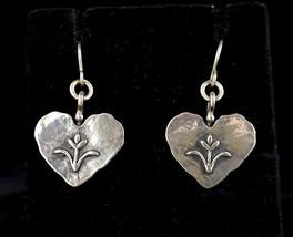 """Vintage Sterling Silver Didae Israel Heart Floral Drop Dangle Earrings 1.5"""" - $71.99"""