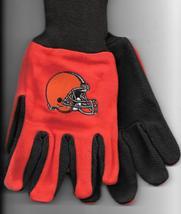 Cleveland Browns team Sport Utility Gloves orange brown garden NFL Footb... - $17.77