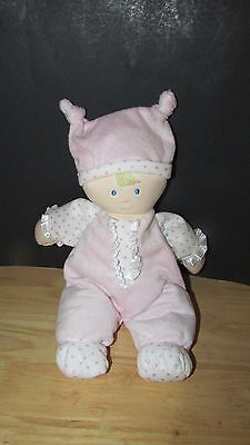 Kids Preferred doll baby soft plush pink knotted hat polka dots satin ruffle image 4