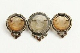 Vintage Estate Jewelry Extasia Triple Topaz Glass Intaglio Cameo Brooch Pin - $165.00