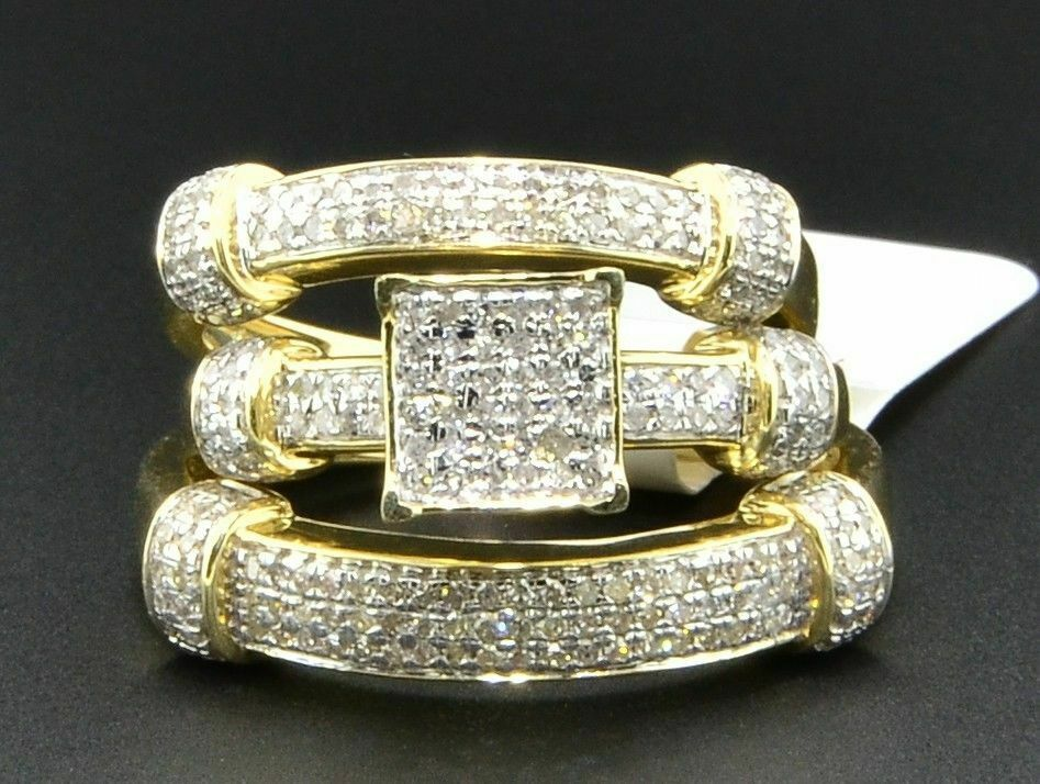 Primary image for Diamond Trio Set Matching Engagement Ring 10K Yellow Gold Finish Wedding Band