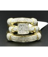 Diamond Trio Set Matching Engagement Ring 10K Yellow Gold Finish Wedding... - $159.99