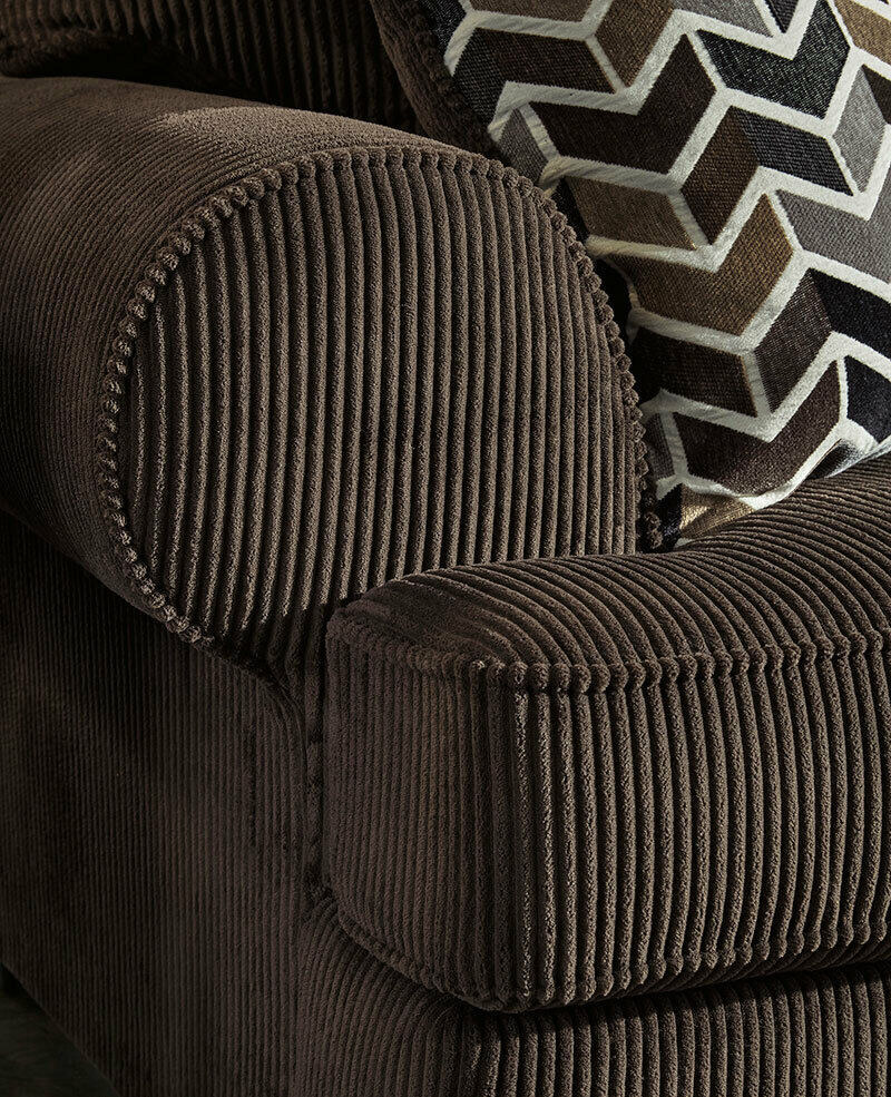Delia Large Sectional Living Room Brown Corduroy Fabric