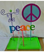 Peace Sign Multi Color Jewelry Holder Organizer Earrings Necklace Metal NEW - $14.99